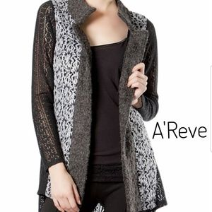 A'Reve Wool Open Front Floral Cardigan Size Small